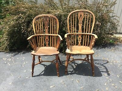 English windsor chairs, F. Walker, Rockley 1860's pegged yew wood
