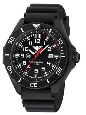KHS Tactical Watch Black Steel C1-Light Silicone Band Swiss Movement German Army