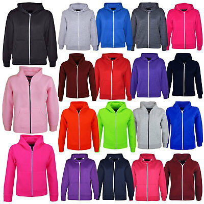 Kids Girls Boys Unisex Plain Fleece Sweatshirt Zipper Hoody Jacket Age 7-13 Year