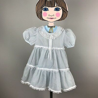 Vtg 50's Blue Swiss Dot Sheer Lace Ruffle Dress Puff Sleeve Toddler Party 2T