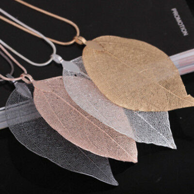 1 pc Women Leaves Leaf Sweater Chain Pendant Long Necklace Jewelry 3 Colors