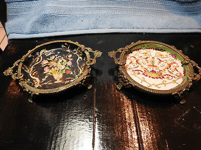 fine old Chinese Hua Rong Tang Zhi Porcelain candy dishes pair gilt brass mounts