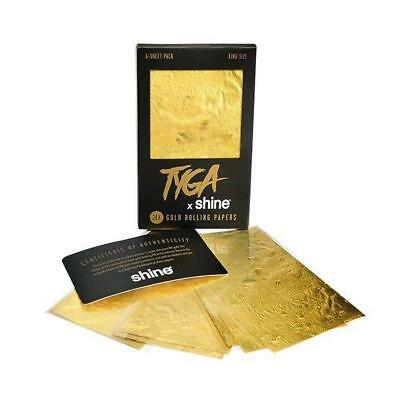 Shine TYGA KING SIZE 24K Rolling Papers Gold | 6 Sheet Pack | 100% Authentic