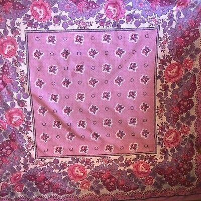 Vintage Souleiado Charles Demery Pink Provencal France Country Scarf/Bandana