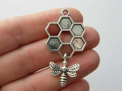 4 Bee Pendant Charms Antique Silver and Gold Tone Honeycomb Open Design SC6443