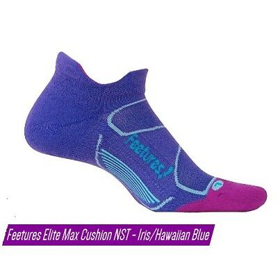 Feetures Elite Max Cushion No Show Tab Sock - Iris/Hawaiian Blue - Small