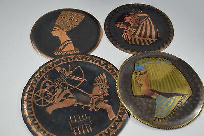 Vintage Egyptian Brass Lot Engraved Queen Cleopatra Nefertiti King Amon Bundle