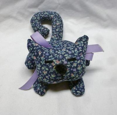 Wonderful Hand Made Stuffed Blue Printed Cloth Shelf Cat With Long Curled Tail.
