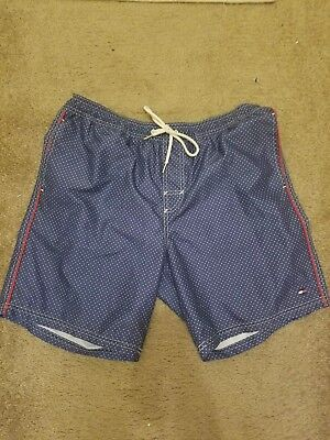 7a73fc7863 VINTAGE TOMMY HILFIGER Mens Swim Trunks Shorts Blue Red Size L Large 90s