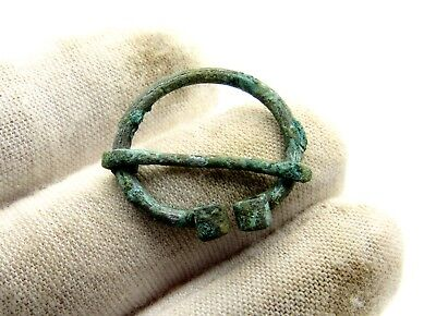 Viking Bronze Penannular Omega Brooch W/ Runic- Ancient Historic Artifact - D558