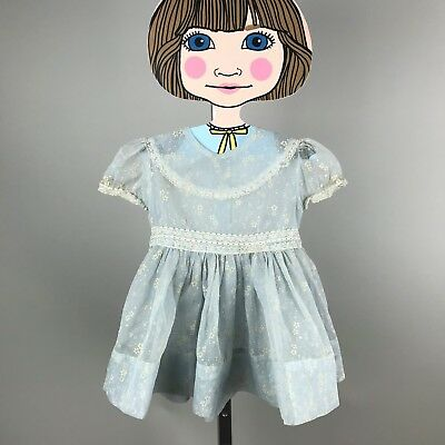 Vtg 50's Sheer Flocked Floral Lace Dress Pastel Blue Toddler Baby Party 18-24 mo