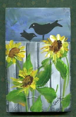 A Pair of Black Crows Folk Art bright Sunflowers and an Old Country Fence