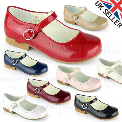 Girls Spanish Style Shoes Mary Jane Patent Pink White Ivory Navy Red Camel Uk4-2