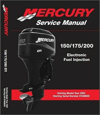 Mercury 150 / 175 / 200 EFI Outboard Motor Service Repair Manual CD
