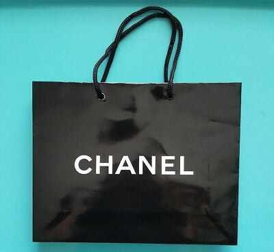 "CHANEL Small Black Paper Gift Shopping Bag 8"" x 10"" x 3"""