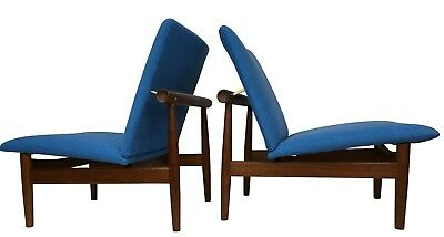 Authentic Circa 1960s Pair of Finn Juhl Japan Easy Lounge Chairs in Teak Danish