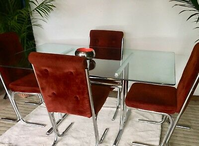 Mid Century Modern Gl Chrome Dining Table W 4 Chairs