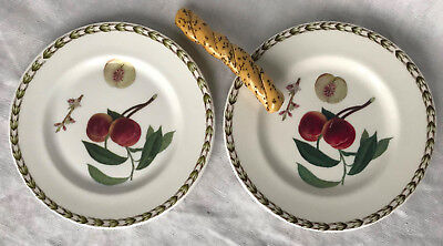 QUEEN'S HOOKERS FRUIT Pair Bread Plates Fruit Pattern Fine Bone China, India 6""
