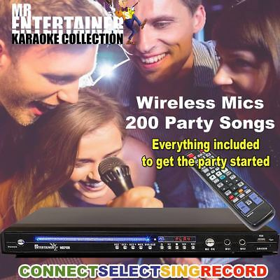 Mr Entertainer MKP100 Karaoke Machine Player & Wireless Mics HDMI/Record/Rip/USB