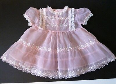 Lovely Vintage 1950's Sheer Toddler Pretty Pink Embroidered Party Dress Size 3