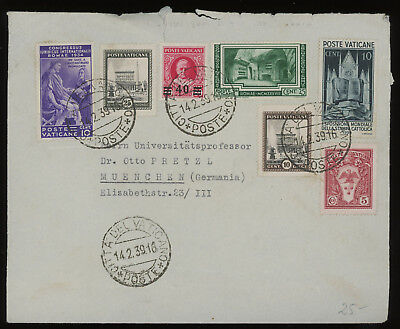 Vatican 1939 cover to Germany franked with 40 on 80c carmine provisional, scarce