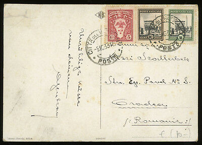 Vatican 1933 illustrated postcard to Romania, nice franking and scarce dest.
