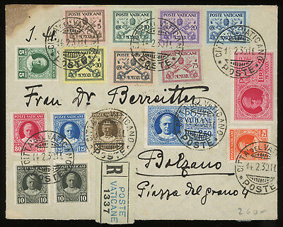 Vatican 1930 registered cover bearing OVER-COMPLETE FIRST ISSUE, with 10l twice
