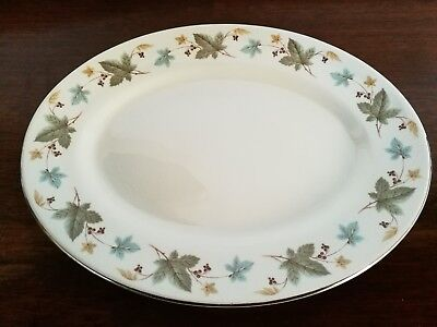 Vintage Ridgway Vinewood serving oval plate approx 30cm white mist Uk