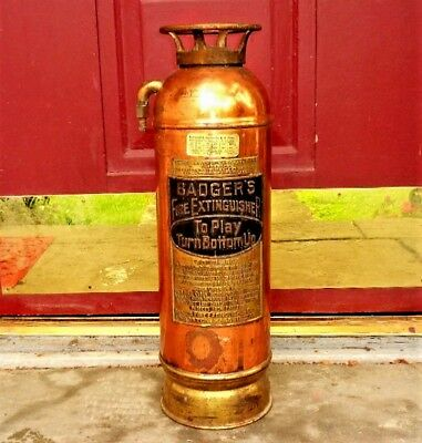 Vintage BADGER'S Brass Copper Fire Extinguisher 2 1/2 Gallon Boston Mass. USA