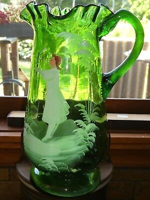 Antique Mary Gregory Green Glass Large Pitcher circa 1850-1920's