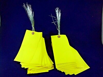 """250 yellow shipping inventory tags 6-1/4"""" x 3""""  pre wired TyveK weather proof"""