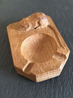 Vintage Collectable Carved Oak Robert Mouseman Thompson Ashtray Pin Tray