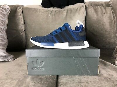 2d31039fb Adidas NMD R1 Mystery Blue Black White Navy Running Shoe 7.5-13 DS BY2775  BOOST
