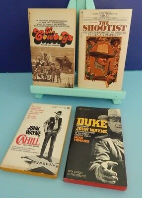 John Wayne Paperbacks The Cowboys Shootist Cahill Duke Jennings Swarthout GREAT!
