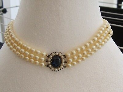 Vintage sterling silver gilt Lotus Royale simulated pearl/sapphire choker 1980's