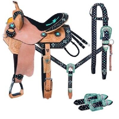 """Western Natural Leather Hand carved Barrel Racer 17"""" Saddle with Free Tack"""