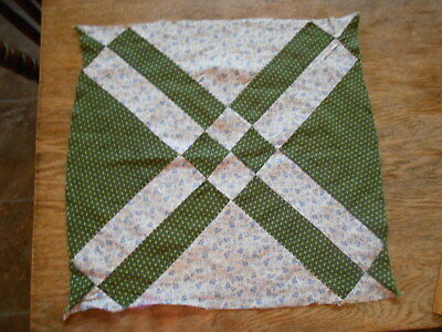"Vintage Antique 1 Boardwalk Quilt Block Hand Stitched Cotton 14"" X 14"" 1880""s"