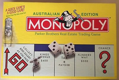 Monopoly - Australian Edition - Parker Brothers Real Estate Board Game Metal Pcs