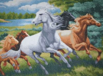 Wild Horses Galloping Canvas Fine Detailed Needle Work Tapestry Hanging Wall Art