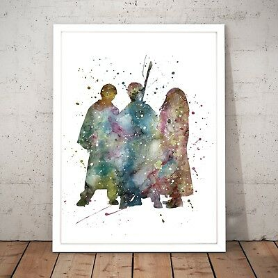 Harry Potter & Friends Watercolour Nursery Decor Art Poster Print A4 - A0 Framed