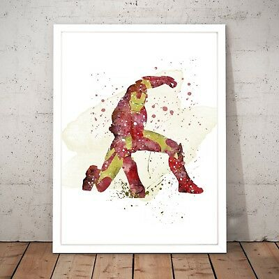 Marvel Ironman Watercolour Nursery Decor Art Poster Print - A4 to A0 Framed
