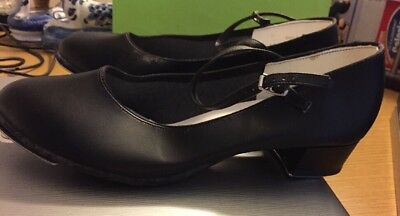 Women's AWARD  Black Tap Dance Shoes Size 10 Leather Leo Tonemaster