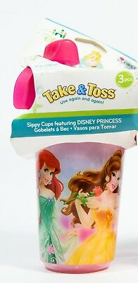 3PC Disney Princess First Years Take & Toss Sippy Cups 10oz w/ Travel Cap 9m+