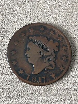 1817 large cent Matron Head 13 Stars Cleaned Coin Us Liberty