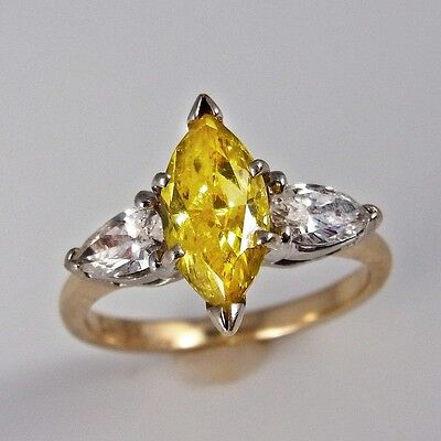 Mid Century Fancy Canary Diamond Engagement Ring Wedding Yellow 14K Gold Vintage
