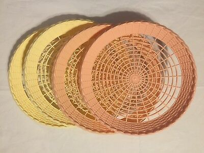 Vtg PLASTIC Paper Plate Holders Lot of 4 WOVEN RETRO Kitschy Picnic BBQ C&ing & VINTAGE LOT Rattan Wicker Woven Paper Plate Holders Picnic Party BBQ ...