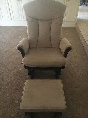 Dutailier Glider BABY Rocking CHAIR and Ottoman Combo Sand Micro Fabric RECLINES