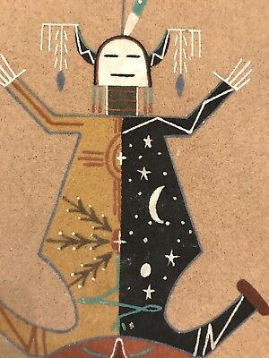 Vintage Sand Painting NAVAJO Jeanette Johnson  MOTHER EARTH FATHER SKY NM signed