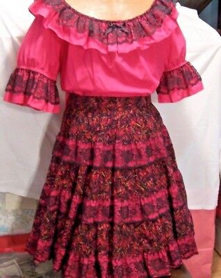 Square Dance Ladies Skirt & Top - with Matching Partner Tie
