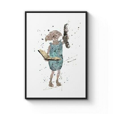 Harry Potter Dobby Watercolour Nursery Decor Art Poster Print - A4 to A0 Framed